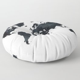 World Map in Black and White Ink on Paper Floor Pillow