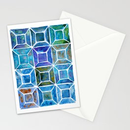 Blue Mosaic Tiles Stationery Cards