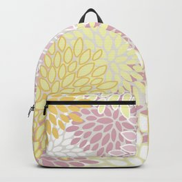 Floral Prints, Soft, Yellow and Pink, Design Prints Backpack