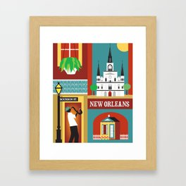 New Orleans, Louisiana - Collage Illustration by Loose Petals Framed Art Print