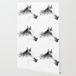 Horse, animal head portrait, hand drawn black and white drawing Wallpaper