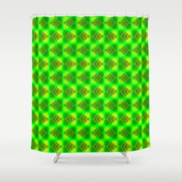 Striped green hearts on a grassy background. Shower Curtain