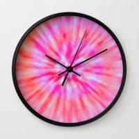 tie dye Wall Clocks featuring TIE DYE by Nika