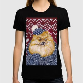 Pomeranian in a Hat and Scarf T-shirt