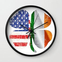 Lucky Irish clover american flag Wall Clock