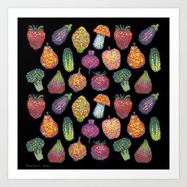 Vitamins (black) Art Print