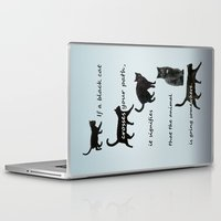 marx Laptop & iPad Skins featuring Black cat crossing, v.2 by IvanaW