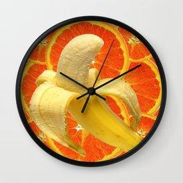 TROPICAL PEELED BANANA & JUICY ORANGE SLICES FRUIT Wall Clock