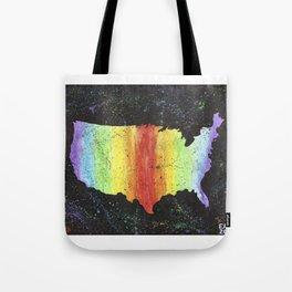 Rainbow USA on Black Background Tote Bag