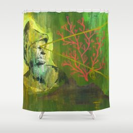 Roman Bust and Mountain (Old Wise Eyes) Shower Curtain