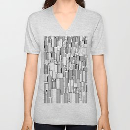 Tall city B&W / Lineart city pattern Unisex V-Neck