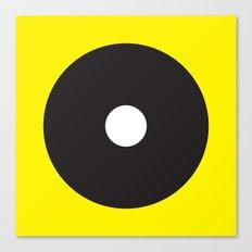 White dot on black on yellow Canvas Print
