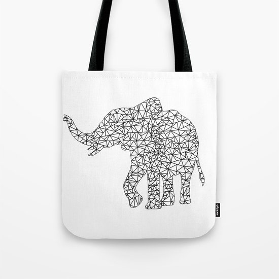 Triangles Elephant Silhouette on white Background on #Society6 Tote Bag