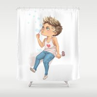 niall Shower Curtains featuring Bubble Niall by RockitRocket