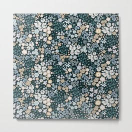 478-Cute small scale ditsy pattern blue background Metal Print