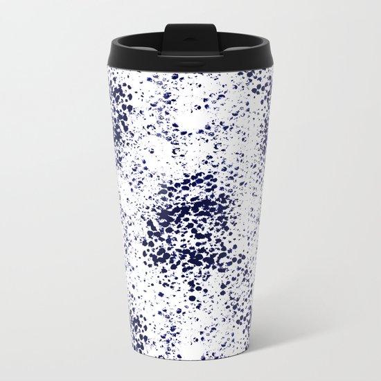 Indigo Splash abstract minimal white and blue nautical water painterly painting monochromatic art Metal Travel Mug
