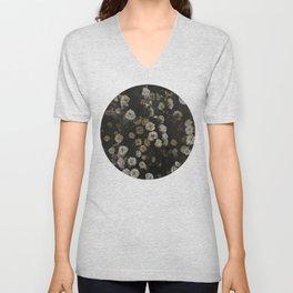 Midnight Dark Floral Grunge Unisex V-Neck