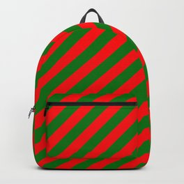 Red and Green Christmas Candycane Stripes Backpack