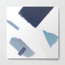 White and blue art print Metal Print