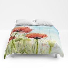 Red Flowers Watercolor Landscape Poppies Poppy Field Comforters