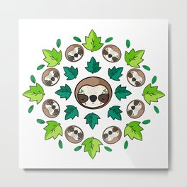 Mandala Sloth Metal Print