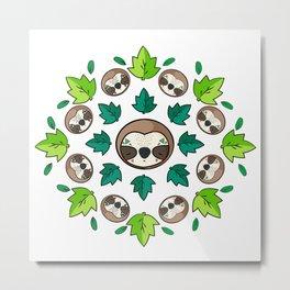 Mandala Sloth Metal Print