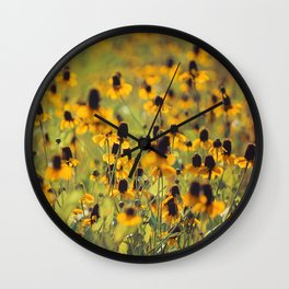Yellow Hat Dance -- Dreamy Botanical Landscape Mexican Hat Coneflowers Afield Square Wall Clock