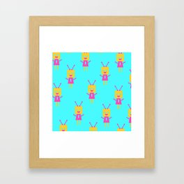 Happiest Little Robot (blue) Framed Art Print