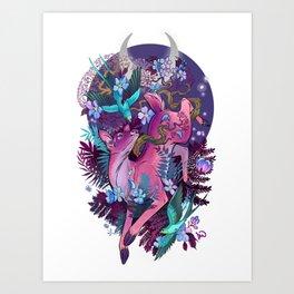 Majestic Midnight Pink Whitetail Doe Art Print