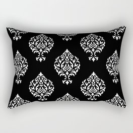 Orna Damask Pattern White on Black Rectangular Pillow