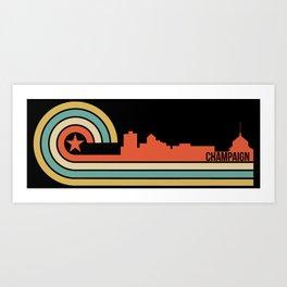 Retro Champaign Illinois Skyline Art Print