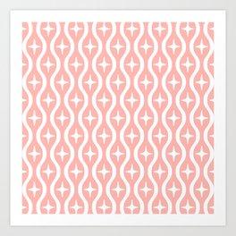 Mid century Modern Bulbous Star Pattern Peach Art Print