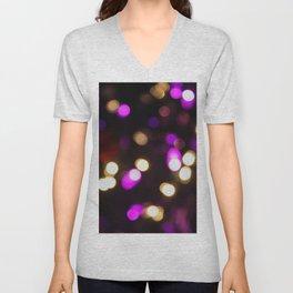 Purple & Gold Bokeh Unisex V-Neck