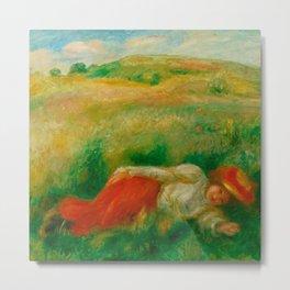 "Auguste Renoir ""Femme couchée dans l'herbe"" Metal Print"