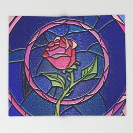 Beauty and the Beast Enchanted Rose Stained Glass Throw Blanket