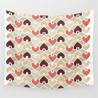 knit Wall Tapestries featuring Heart knit pattern by VessDSign
