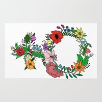 feminist Area & Throw Rugs featuring Feminist flower in color by Mikaela Puranen