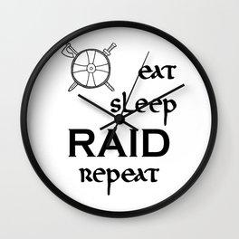 eat-sleep-RAID-repeat black, Vikings Wall Clock