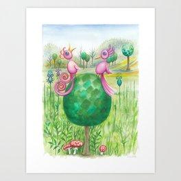 2 cute pink birds in a tree Art Print