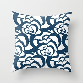 Blue Navy Floral Clouds Throw Pillow