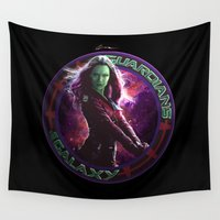 guardians of the galaxy Wall Tapestries featuring Gamora - Guardians Of The Galaxy by Leamartes