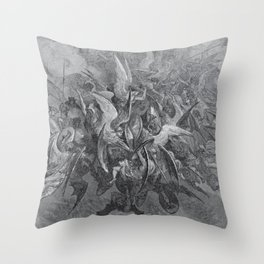 Now storming fury rose, Paradise Lost, Gustave Dore, 1866 Throw Pillow