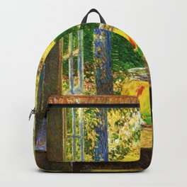 Classical Masterpiece 'The Goldfish Window' by Frederick Childe Hassam Backpack