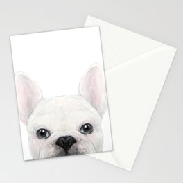 French bulldog white Dog illustration original painting print Stationery Cards