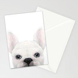 French bulldog white Dog illustration original painting print Stationery Cards