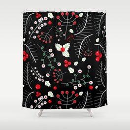 mistletoe black Shower Curtain