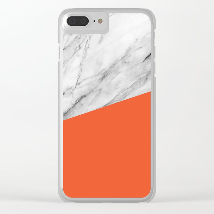 Marble and flame color Clear iPhone Case