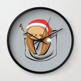 Sloth in a Pocket Xmas Wall Clock