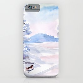 Winter walk of dogs iPhone Case