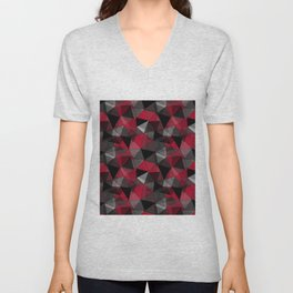 Abstract polygonal pattern.Red, black, grey triangles. Unisex V-Neck